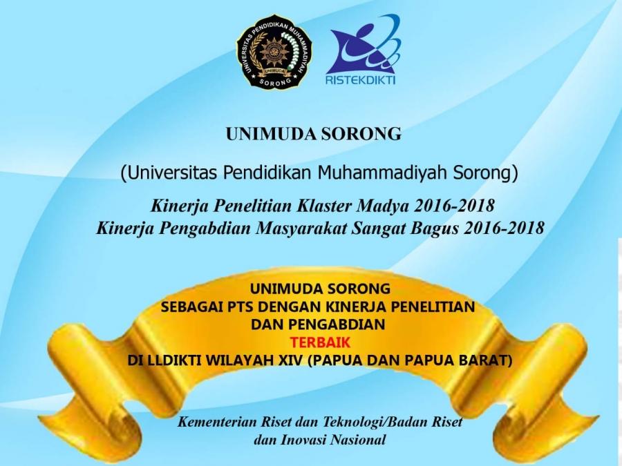 UNIMUDA Sorong Tempati Urutan Pertama PTS dengan Kinerja Penelitian dan Pengabdian tahun 2019 di LLDIKTI Wilayah XIV (Papua dan Papua Barat)
